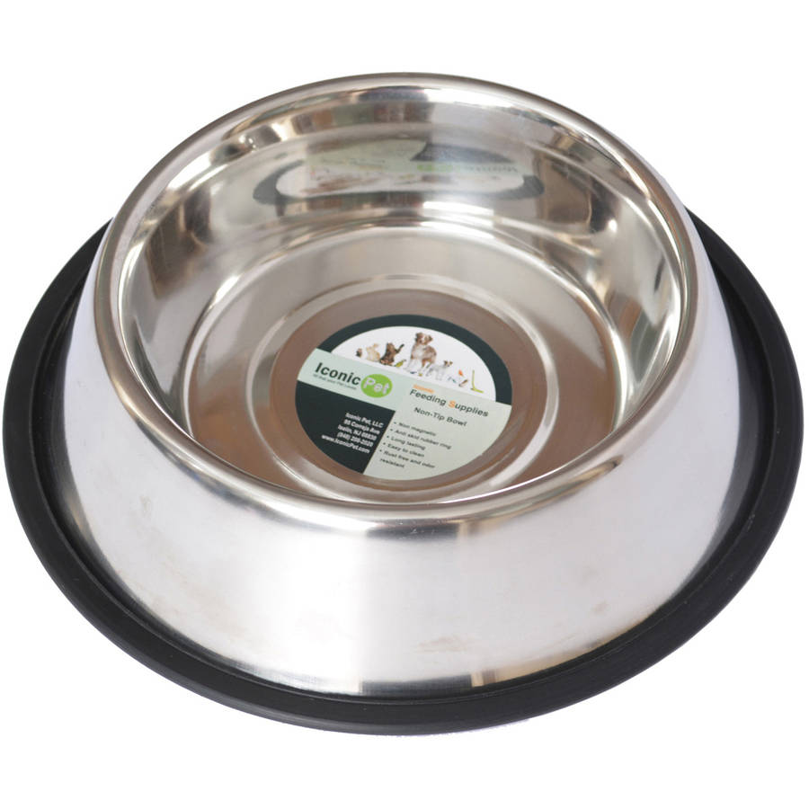 Iconic Pet Stainless Steel Non-Skid Pet Bowl For Dog or Cat, 16 Oz, 2 Cup