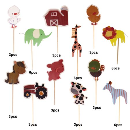 48 Pcs Farm Zoo Animal Cake Cupcake Appetizer Decorations Toppers Picks Baby Shower Food Fruit Muffin Cake Picks Picnic Boys' Birthday Themed Party