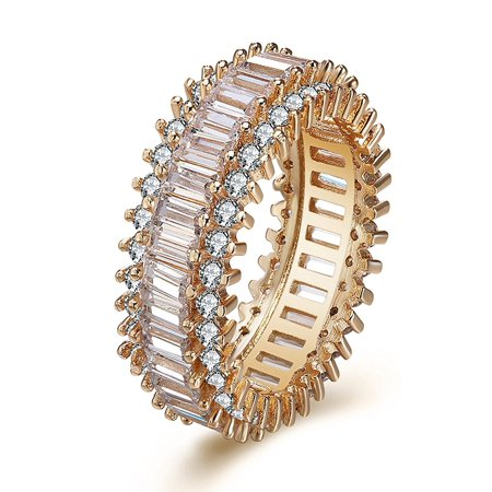 Ginger Lyne Collection Eternity Baguette Cut CZ Rose Gold Plated Band