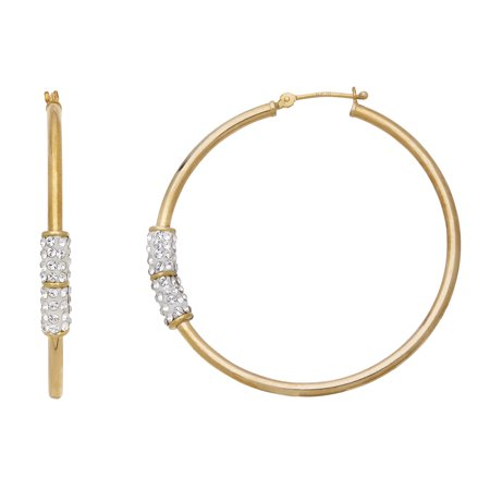 Simply Gold 10K Yellow Gold 2X42mm Hoop With Swarovski Crystal Elements Earrings