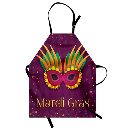Mardi Gras Apron Festival Mask Design on Purple Backdrop with Stars and Colorful Dots, Unisex Kitchen Bib Apron with Adjustable Neck for Cooking Baking Gardening, Purple Orange Green, by Ambesonne (Mardi Gras Backdrop)