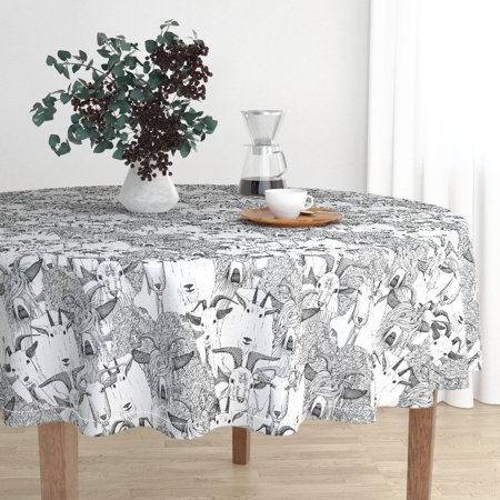 Round Tablecloth Goat Ink Illustration Animals Horns Monochrome Cotton Sateen