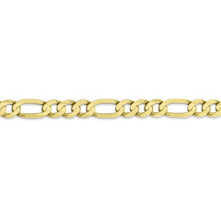 10K Yellow Gold 6.75mm Light Concave Figaro Chain 22 Inch - image 3 of 5