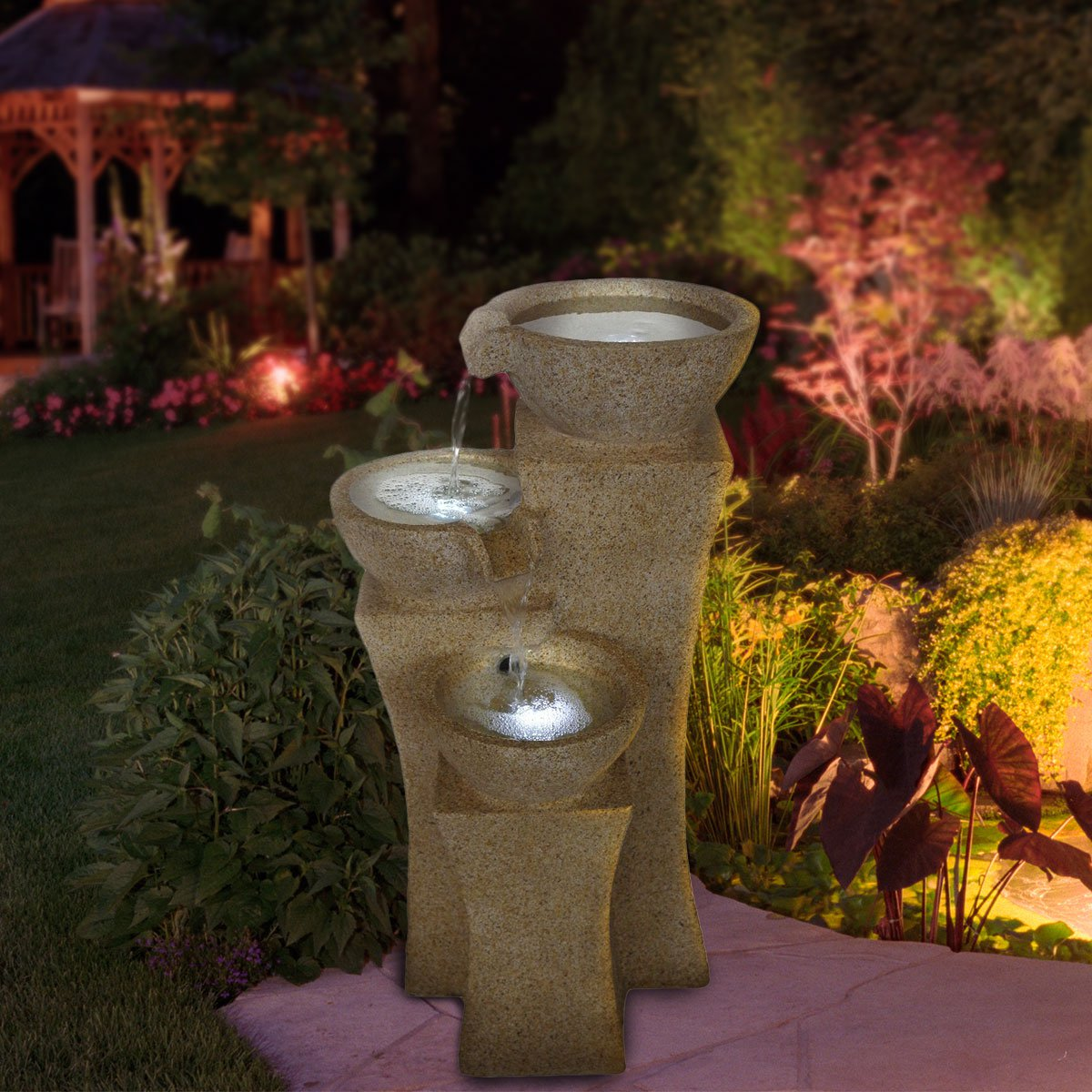 Amazing Pure Garden Cascade Bowls Outdoor Fountain With LED Lights