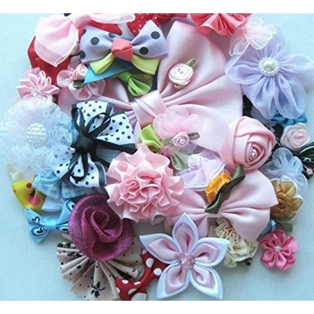 Chenkou Craft Mix Bulk 50pcs Ribbon Flowers Bows Craft Wedding Ornament Appliques A0241 (Ribbon Bulk)