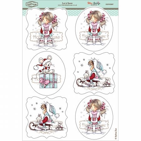 Hobby House HHWS007 Wee Stamps Topper Sheet, 8.3 by 12.2-Inch, Let it Snow Multi-Colored