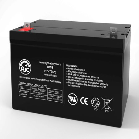 Quickie P320 GP24 AGM 12V 75Ah Wheelchair Battery - This is an AJC Brand Replacement - image 1 of 6