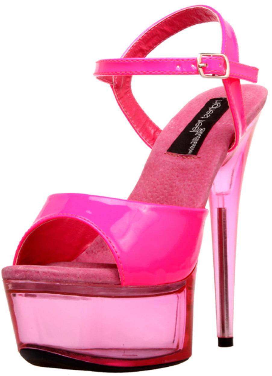 "Womens 6"" Orange Platform Neon UV Reactive Upper And Bottom Shoes"