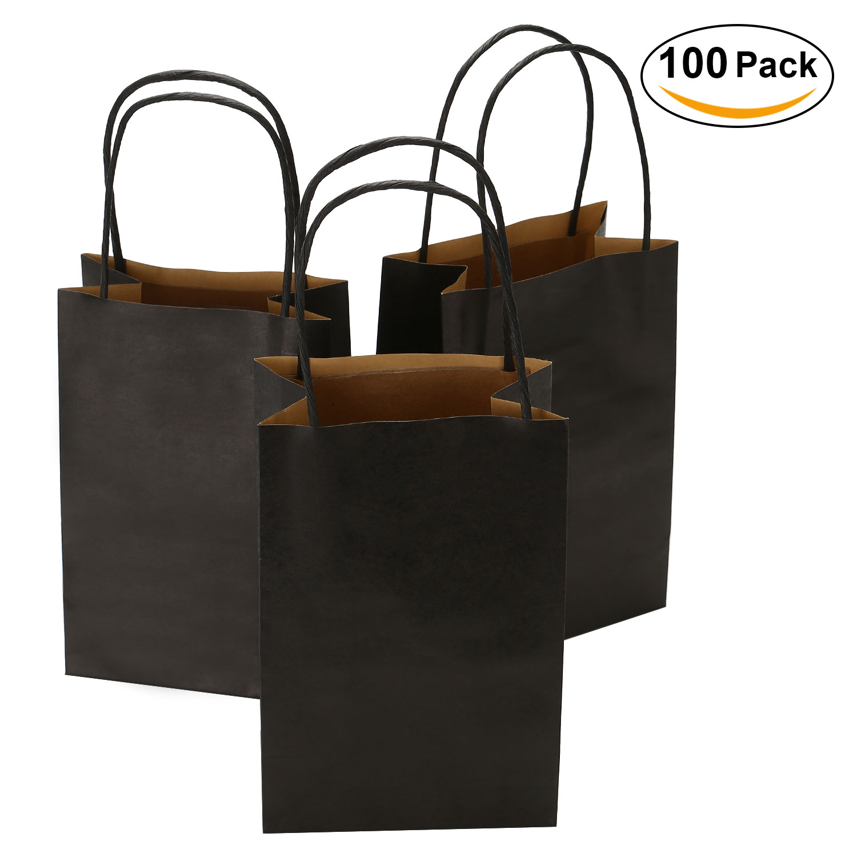 "TKOOFN 5.5"" x 3.4"" x 8.1"" Black Kraft Paper Bags for Shopping Mechandise Party Gift ,100 Pcs"