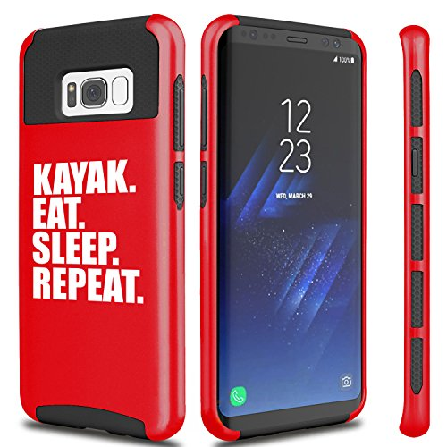 For Samsung Galaxy Shockproof Impact Hard Soft Case Cover Kayak Eat Sleep Repeat (Red For Samsung Galaxy S8+ (Plus))