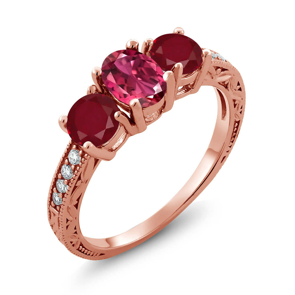 2.09 Ct Oval Pink Tourmaline Red Ruby 14K Rose Gold Ring by