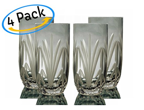GAC Set of 4 Crystal Highball Ice Beverage Glasses and Glassware Set by Great American Classics