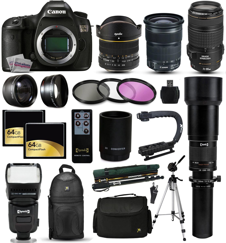 Canon EOS 5DS DSLR SLR Digital Camera + 70-300mm IS USM + 6.5mm Fisheye + 24-105 STM + 650-2600mm Lens +... by Canon