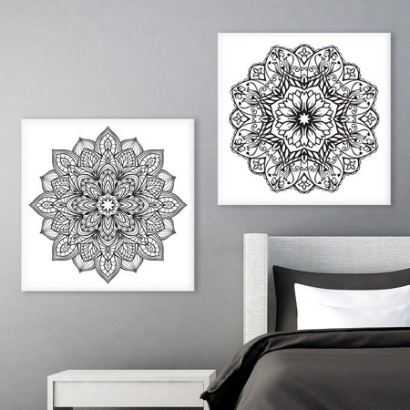 wall26 2 Panel Square Canvas Wall Art - Black and White Floral Pattern Patterns - Giclee Print Gallery Wrap Modern Home Decor Ready to Hang - 16