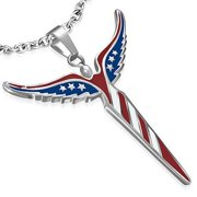 Stainless Steel American Flag Patriotic Blue Red White Stars Pendant Necklace