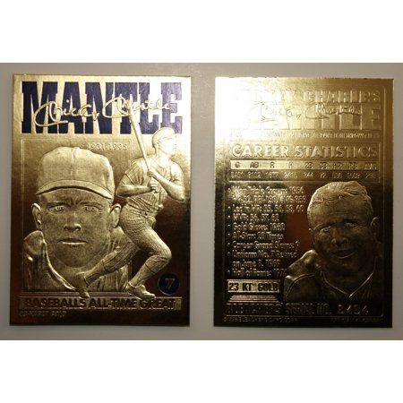 MICKEY MANTLE 1996 23KT Gold Card Sculptured * Baseball's All-Time Great * NM-MT