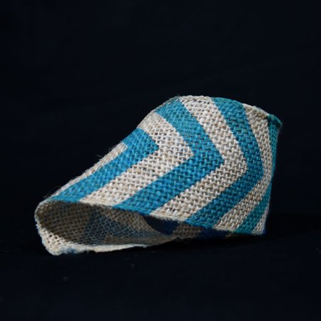 Quasimoon Burlap Fabric Wrap Roll w/ Dark Blue Chevron Pattern (2.4 x 6 Ft) by PaperLanternStore - Navy Burlap