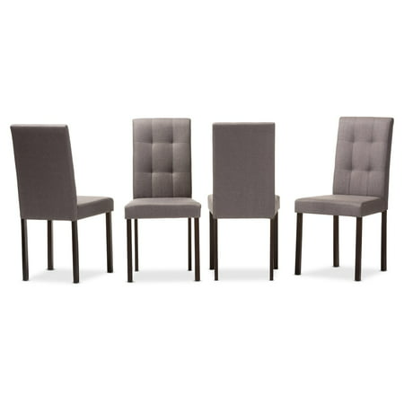 Set of 4 Baxton Studio Andrew Modern and Contemporary Grey Fabric Upholstered Grid-tufting Dining Chair ()