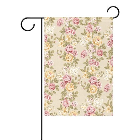 POPCreation Shabby Chic Floral Garden Flag Vintage Flower Outdoor Flag Home Party 28x40 inches ()