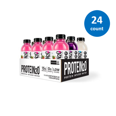 Protein2o Protein Infused Water, Variety Pack, 15g Protein, 12 Ct (2 pack)