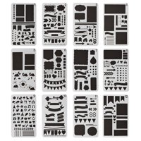 12 PCS Bullet Journal Stencil Set Plastic Planner DIY Durable Drawing Template for Notebook Diary Scrapbook Craft Projects