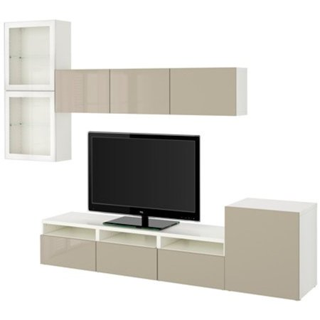Ikea Tv Storage Combination With Push Open Drawers And Glass Doors  White  Selsviken High Gloss Beige Clear Glass 20202 23142 3430