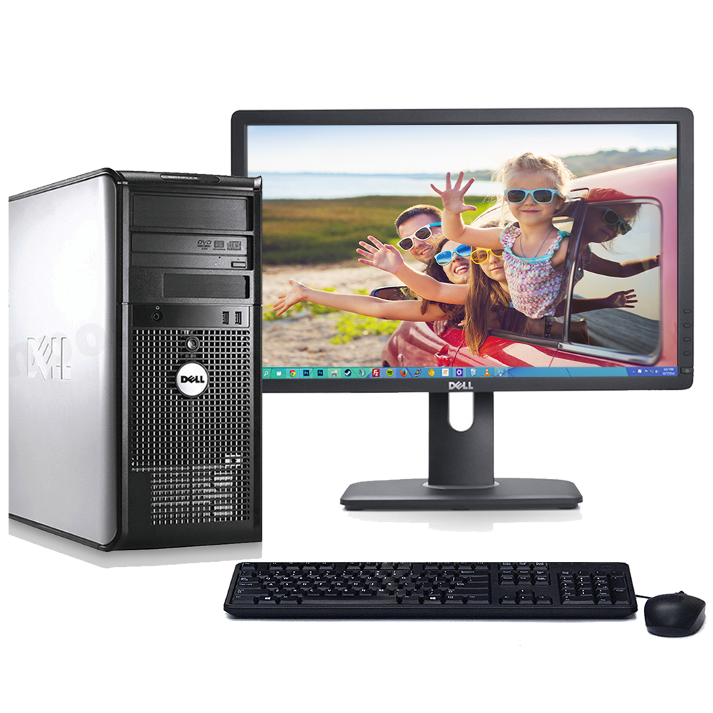 "Dell Optiplex 780 Windows 10 Pro Desktop PC Tower Core 2 Duo 3.0GHz Processor 8GB RAM 1TB Hard Drive DVD-RW Wifi with a 22"" LCD-Refurbished Computer"