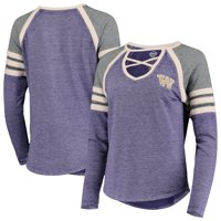 Washington Huskies Concepts Sport Women's Cross Neck Raglan Long Sleeve T-Shirt - Purple/Charcoal