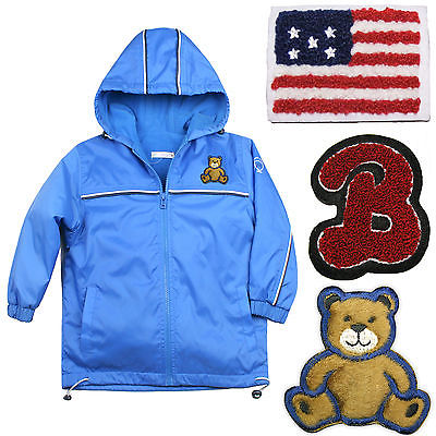 Baby Boys Toddler Jacket Coat Hooded Blue Teddy Bear Stars & Stripes sz 1-6 Yrs