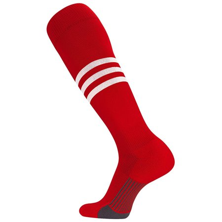TCK Pro Elite Dugout Series Pattern B Knee-High Long Striped Socks (Scarlet/White,