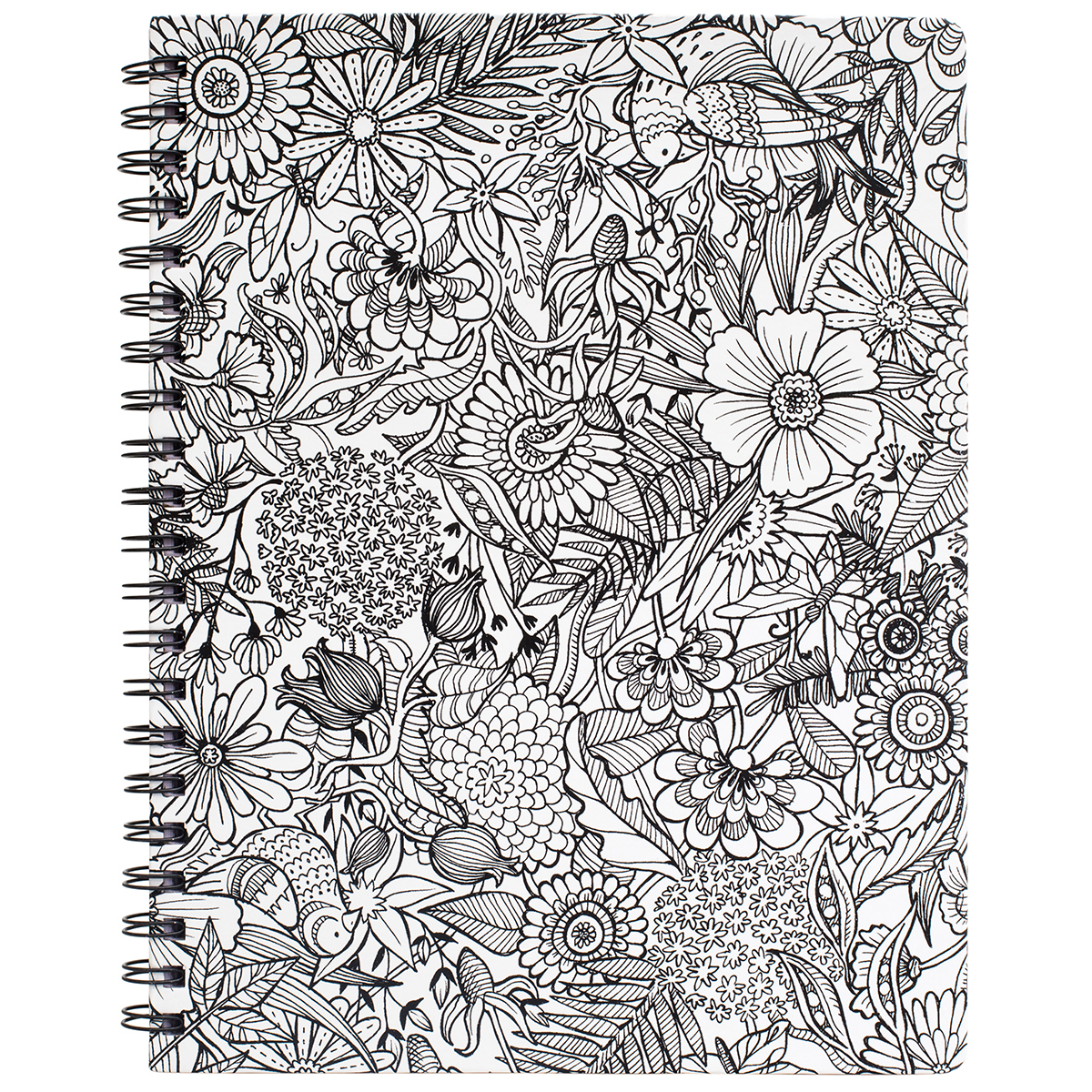 "Hall Pass Adult Coloring Spiral Bound Sketchbook 8.5""X11""-Floral"