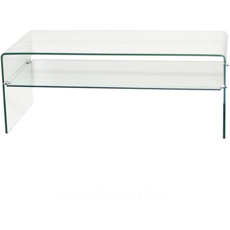 Clear Bent Glass Coffee Table With Shelf 3 8 Thick Walmart Com