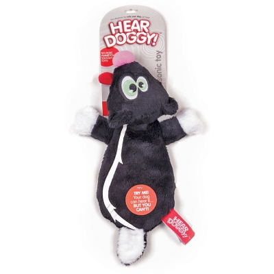 Quaker Pet Group Hear Doggy! Dog Toy, Black Skunk