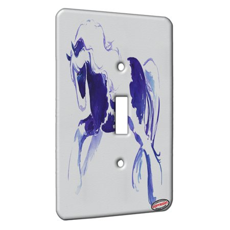 KuzmarK™ Single Gang Toggle Switch Wall Plate - Prancing Piebald Gypsy Vanner Stallion in Purple and Blue Abstract Horse Art by Denise Every (Kids Prancing Horse)