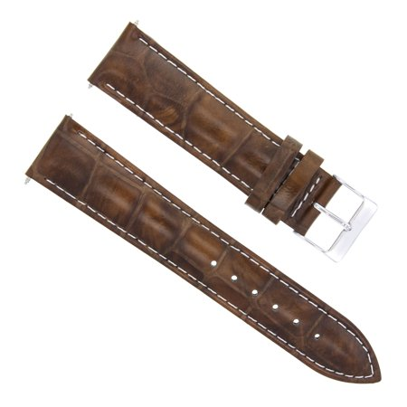 22MM LEATHER WATCH BAND STRAP FOR TAG HEUER LIGHT BROWN  WHITE STITCHING