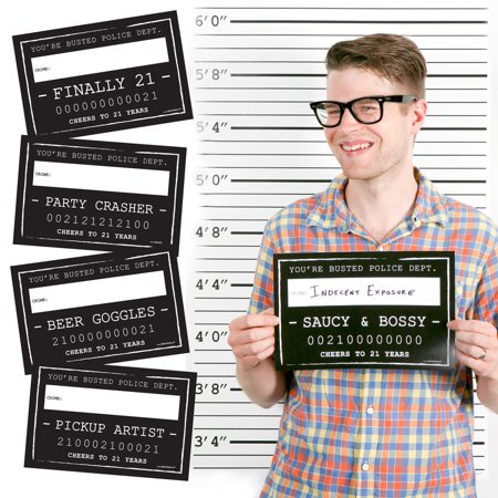 21st Birthday Party Mug Shots - Birthday Photo Booth Props Party Mug Shots - 20 Count (21st Halloween Birthday Party)
