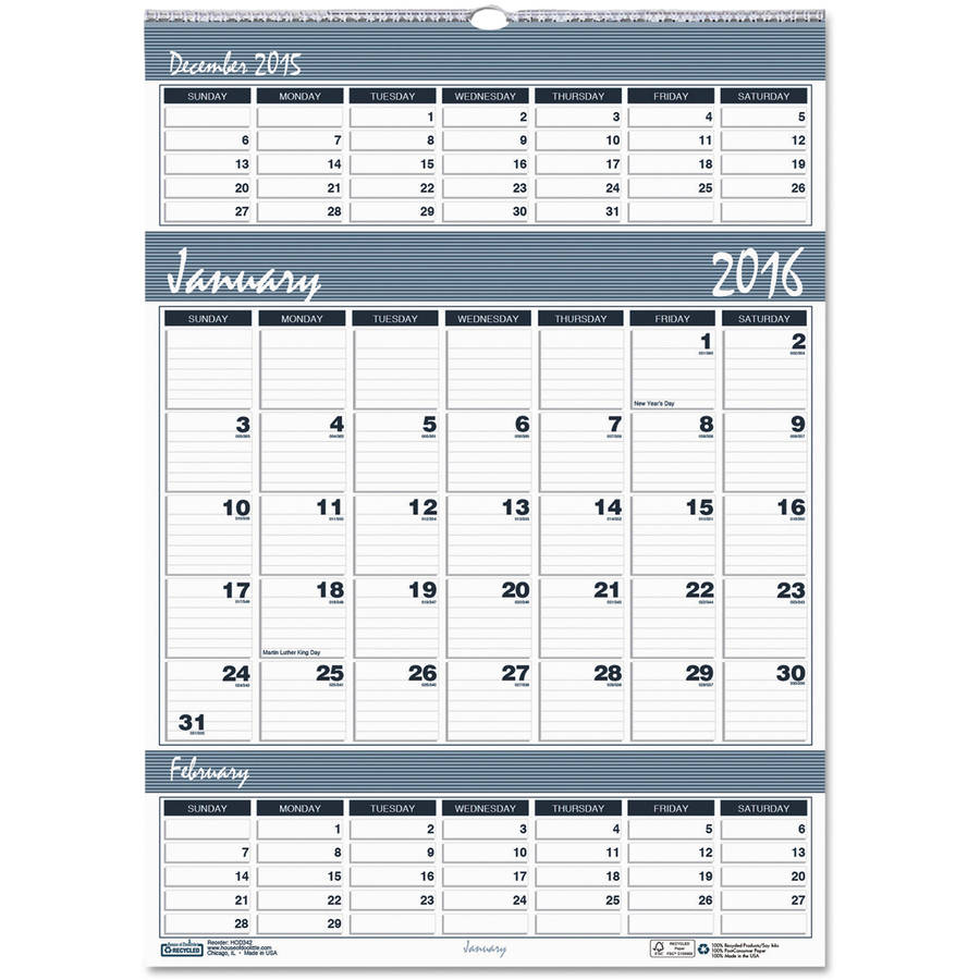 House of Doolittle Bar Harbor Wirebound Three-Months-per-Page Wall Calendar, 12 x 17, 2017 -HOD342
