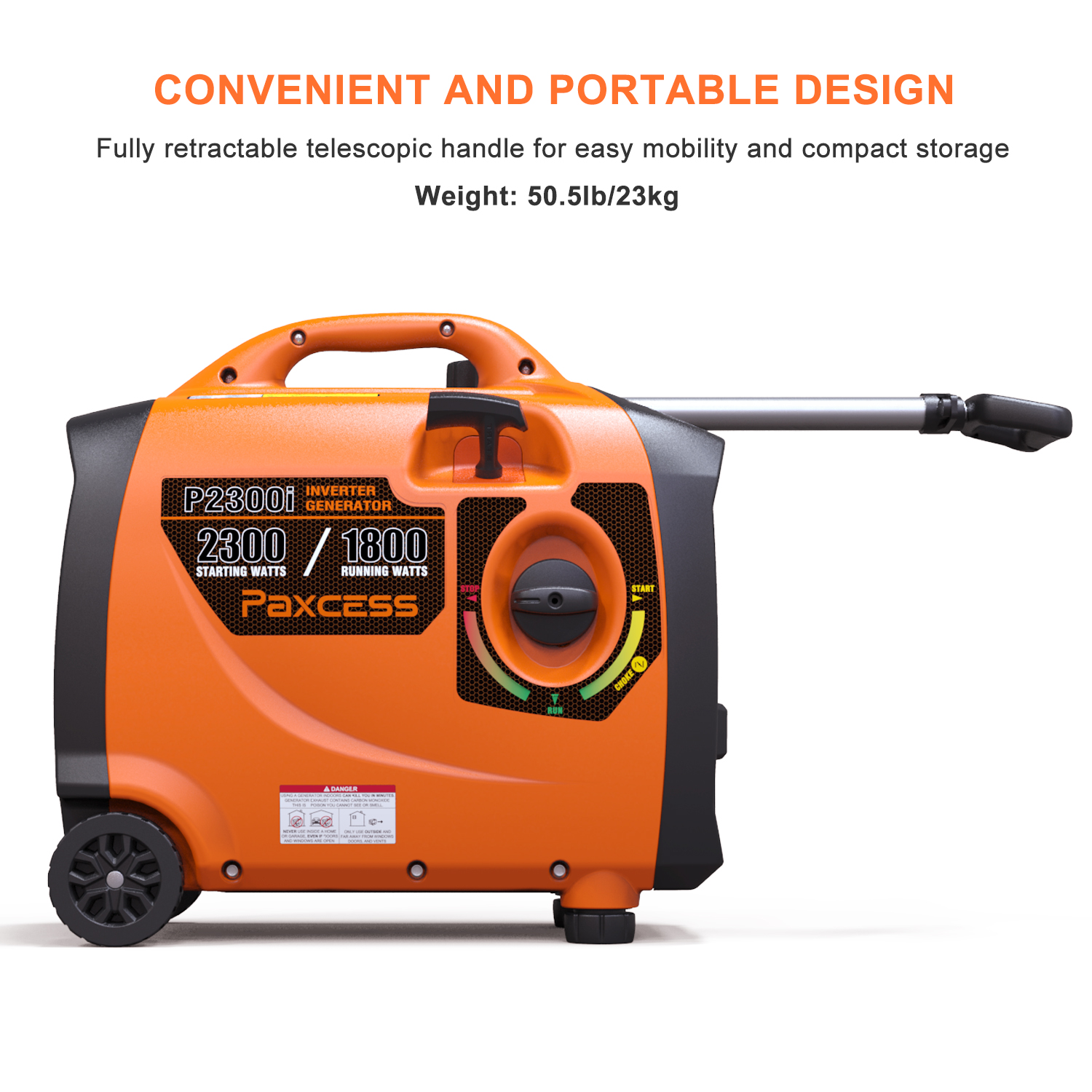 Paxcess 2300 Watts Portable Generator Parallel Ready Inverter Generator With Wheel and Handle RV Ready Generator CARB Complaint For HOME, Camping, Travel, Emergency.