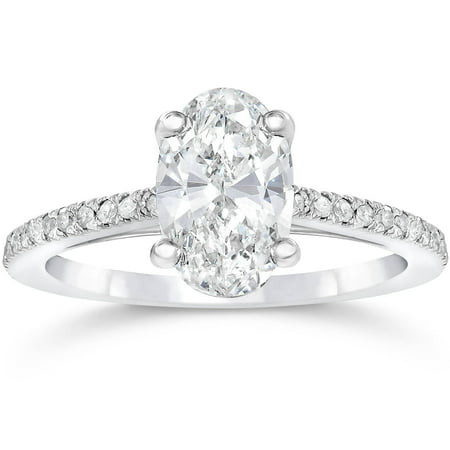 1 1/10ct Oval Diamond Vintage Engagement Ring Solitaire Antique 14K White Gold - image 3 of 3