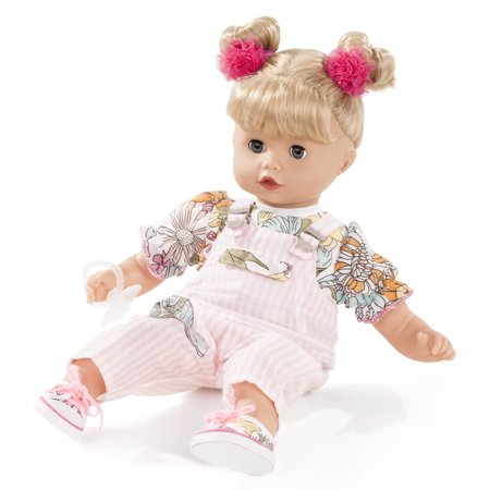 Gotz Muffin 13  Soft Baby Doll With Blonde Hair And Blue Sleeping Eyes In Overalls