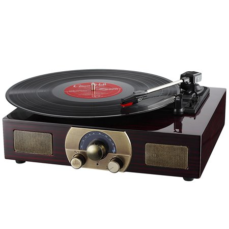 LuguLake Stereo 3-Speed Turntable with Built-In Bluetooth Speakers, Record Player, FM Radio and RCA Output, Vintage Phonograph with Retro Wooden Finish