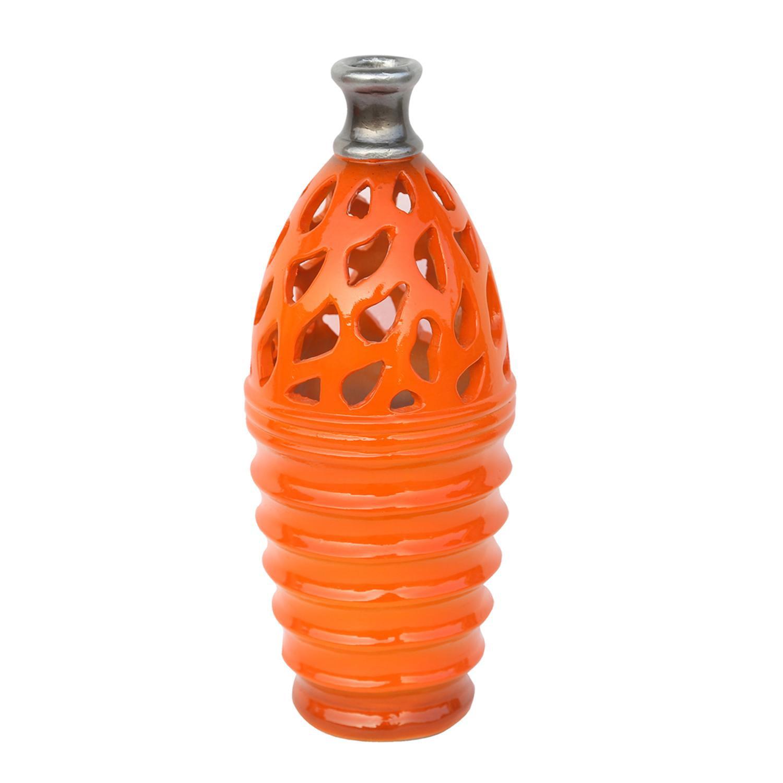 "11.25"" Tangerine Orange and Gray Decorative Outdoor Patio Cutout Vase"
