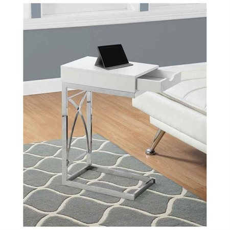 Accent Table with Drawer in Glossy White Finish