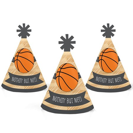 Nothin' But Net - Basketball - Mini Cone Baby Shower or Birthday Party Hats - Small Little Party Hats - Set of 10 - Mini Birthday Party Hats