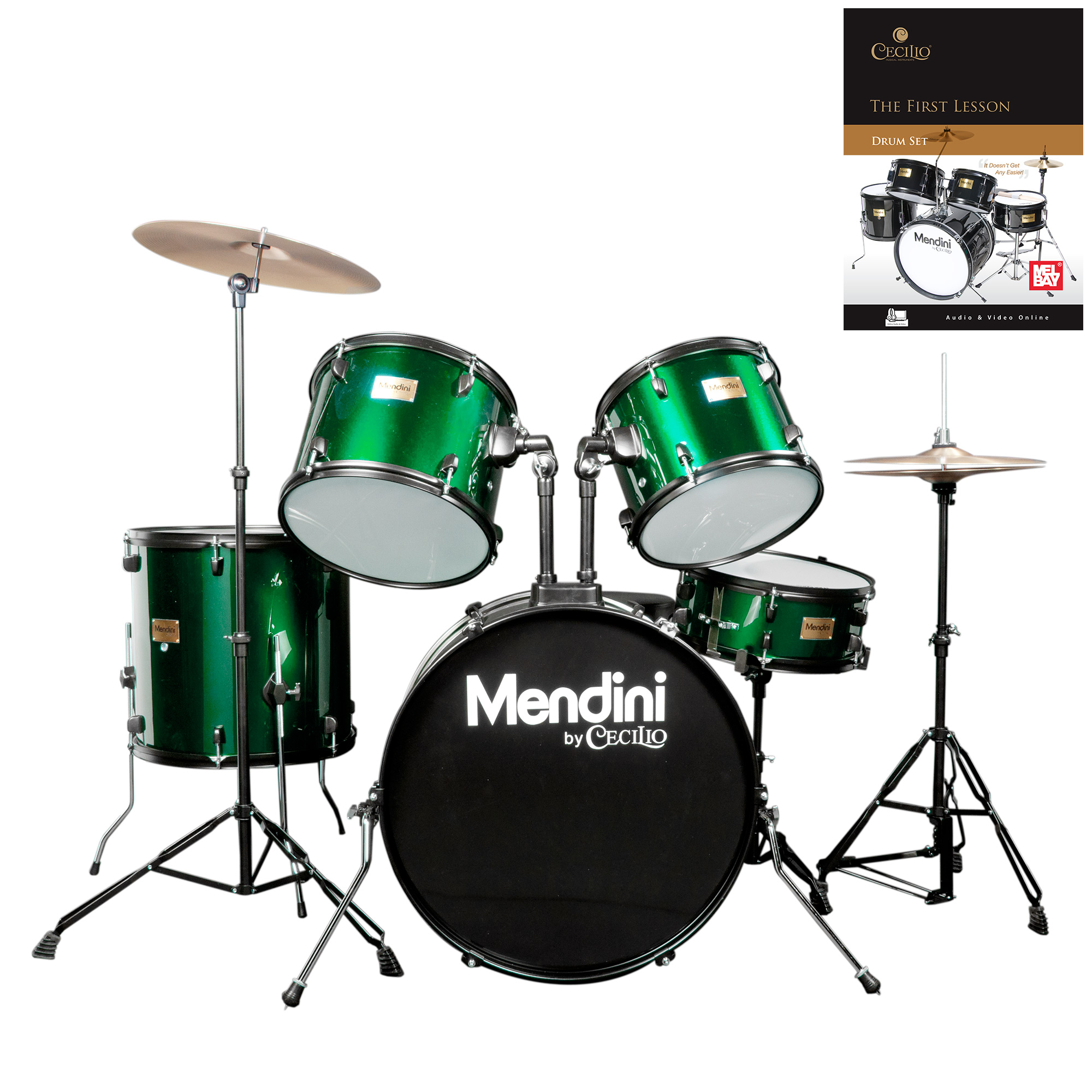 Mendini by Cecilio Complete Full Size 5-Piece Adult Drum Set w/ Cymbals Pedal Throne Sticks, Lesson Book, Metallic Green MDS80-GN