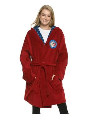 Disney Women's Bathrobe Hooded Robe Plush and Cotton Loungewear, Mickey, Size: XL/2X