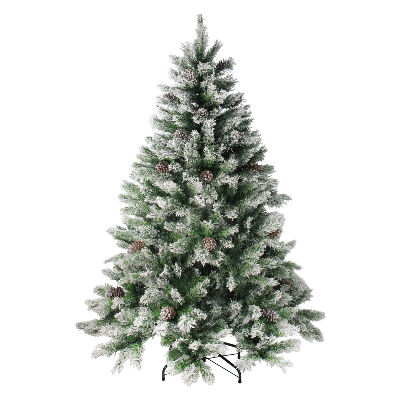 Northlight Flocked Angel Pine with Pine Cones Unlit Christmas Tree