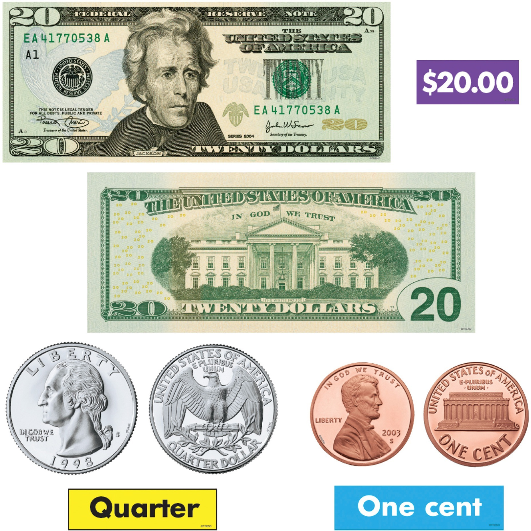 Trend, TEP8142, US Money Bulletin Board Set, 52 / Set, Multicolor