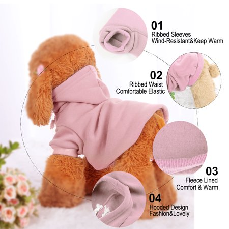 Cotton Dog Winter/Spring/Fall Sweatshirt Hoody Pet Clothes Warm Coat Pink M - image 4 of 7