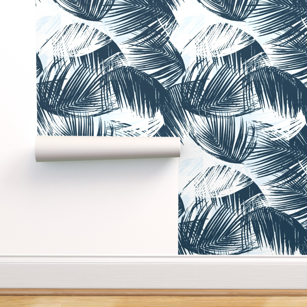 Removable Water Activated Wallpaper Blue And White Tropical Palm Leaves Beach Walmart Com Walmart Com Find the best free stock images about tropical leaves. walmart